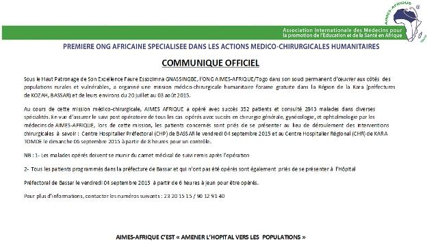 AIMES-AFRIQUE Official announcement